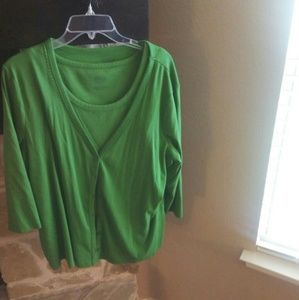 Talbot's Green Cardigan Set with Navy Trim